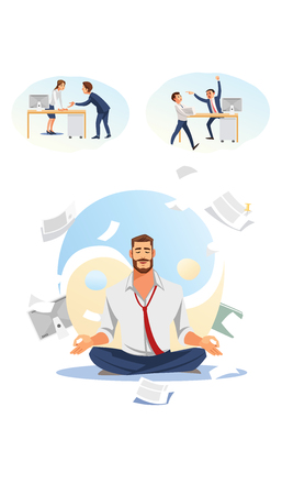 Busy Businessman or Company Employee Meditating in Lotus Pose On Background of Yin and Yang Symbol Flat Vector Illustration. Keeping Balance, Reducing Stress in Business. Getting Zen in Work Concept
