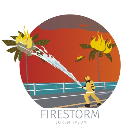 Vector Illustration Cartoon Fire Extinguishing. Firefighter man Extinguishes Fire with Water from Hose on Palm tree. Firestorm Concept Isolated on White Background. Saving city Property.