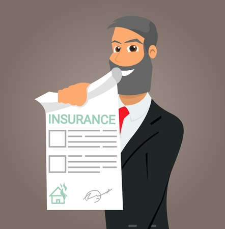 Vector Illustration Cartoon Property Insurance. Smiling Insurance Agent holds in his Hand an Insurance Policy. Concept of Life Insurance and personal Poperty. Safety own Investments
