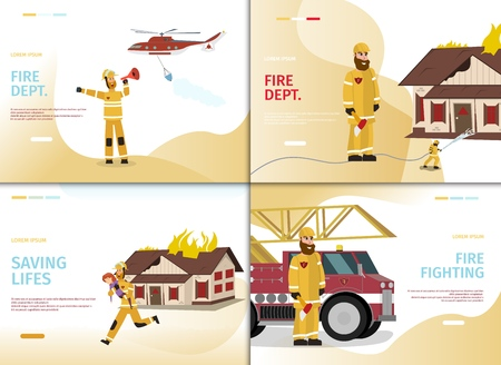 Vector Illustration Cartoon Concept Firefighter. Banner Set image Fire Dept, Saving Lifes, Fire Fighting. Fireman saving lifes Woman. Fireman speaks into Shout. Rescue Helicopter. Fire truck Illustration