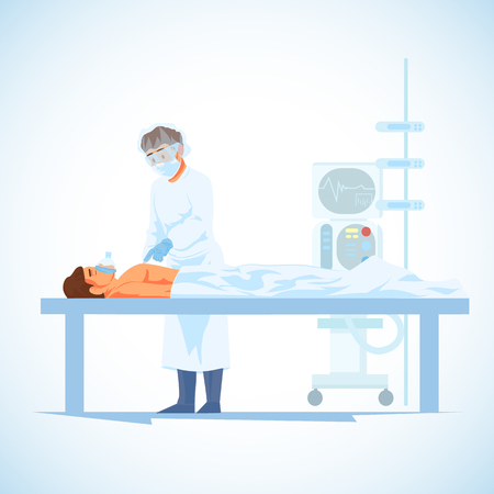 Surgeon with Scalpel, Cutting Patients Chest During Cardiology or Heart Transplantation Surgical Operation Cartoon Vector Illustration Isolated on White Background. Surgical Intervention in Hospital