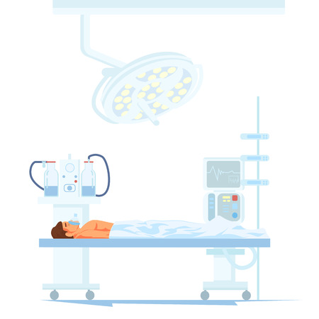 Modern Surgery Equipment Flat Vector Concept with Male Patient under Influence of Anesthesia Lying on Clinic Operating Table Illustration. Machines and Electronic Devices for Hospital Operating Room Vectores