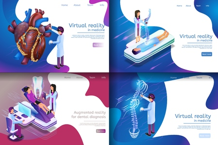 Isometric Illustration Virtual Medical Research. Banner Set Image Virtual Reality in Medicine, Augmented Reality for Dental Diagnosis. Doctor Engaged in Medical Study Spine, Tooth, Heart Vector Illustration