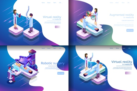 Isometric Illustration Virtual Medical Research. Banner Set Image Virtual Reality in Medicine, Robotic Surgery, Augmented Reality in Medicine. Group Doctor Engaged in Medical Study.