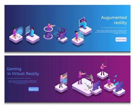 Comunicación en línea isométrica, juegos virtuales. Banner Set Image Realidad Aumentada, Gaming en Realidad Virtual. Grupo de hombres y mujeres juegan videojuegos con gafas de realidad virtual, chat en línea. Ilustración de vector