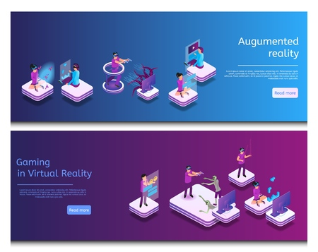 Isometrische Online-Kommunikation, virtuelles Spielen. Banner-Set Image Augmented Reality, Gaming in Virtual Reality. Gruppenmänner und -frauen spielen Videospiele mit Virtual-Reality-Brillen, chatten online. Vektorgrafik