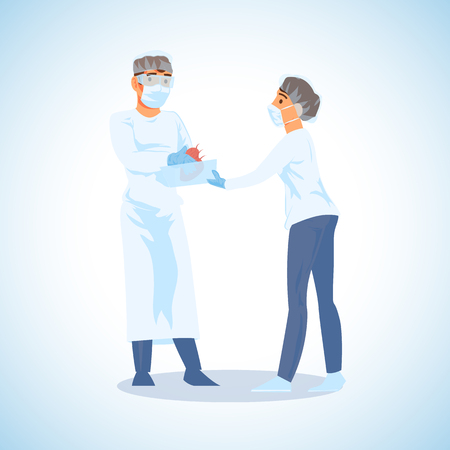 Nursery Giving Surgeon Cardiologist Live Human Heart in Container Cartoon Vector Illustration. Hospital Personnel Preparing for Organ Transplantation Surgery Operation. Emergency Medical Help Concept