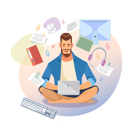 Man Using Laptop, Reading Documents or E-mails Online, Searching Information Online Cartoon Vector Isolated on White. Entrepreneur or Freelancer Working in Virtual Office. Student Distance Education
