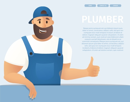 Vector Illustration Concept Plumber Service. Banner Vector Image Cartoon Web Page Piperline Repair, Installation plumbing. Smiling Male Plumber Blue Uniform Holding Thumb Up. Isolated Blue Background  イラスト・ベクター素材