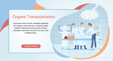 Human Organs Transplantation Cartoon Vector Web Banner. Nursery Assisting Surgeons Who Removing, Replacing Heart to Patient Lying on Operational Desk Illustration. Cardiology Clinic Landing Page