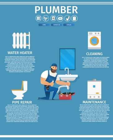 Vector Illustration Concept Page Plumber Service. Banner Vector Image Cartoon Web Page Piperline Repair, Installation Plumbing. Plumber in Uniform with Spanner Repairing Sink. Isolated Blue Background  イラスト・ベクター素材
