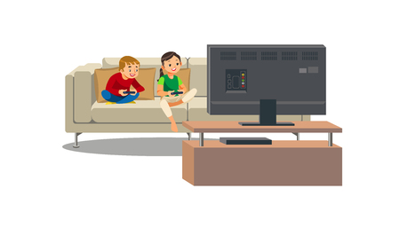 Brother and Sister Sitting on Sofa in Front of TV with Gamepads, Playing Video Game Cartoon Vector Illustration Isolated on White Background. Children Addicted from Computer Games. Sedentary Lifestyle