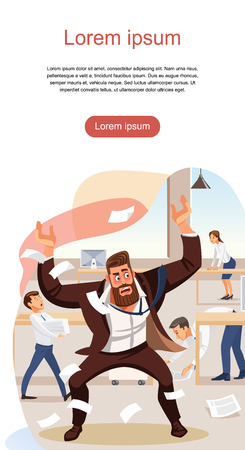 Angry boss screams in chaos at his subordinates. Stressed banner vector cartoon characters. Office workers hurry up with job. Fun cartoon characters. Vector illustration of work situation. Vettoriali