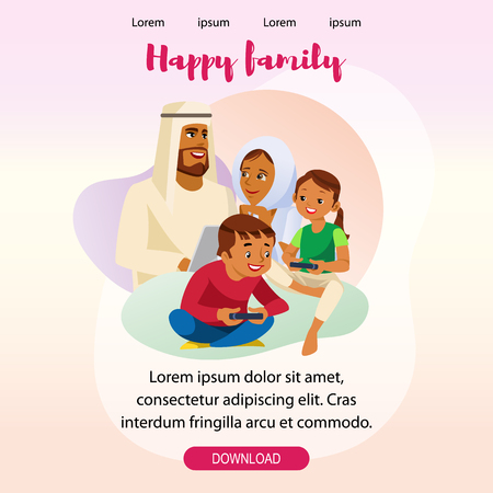 Happy Muslim Family Day Out Vertical Web Banner or Landing Page. Parents in Arabic Ethnic Wear Spending Time Together with Children. Father and Mother Using Laptop while Kids Playing Video Games