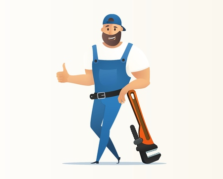 Vector Illustration Concept Plumber Service. Vector Image Cartoon Character Plumbing based on Large Wrench Lifting Finger Up. Plumbing Work Tool to fix Plumbing Problems. Isolated on White Background