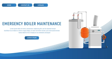 Vector Illustration Concept Page Plumbing Fixture. Banner Vector Image Cartoon Web Page Emergency Boiler Maintenance. Electronic Water Heating Boiler. Plumbing Fixture. Isolated White Background Иллюстрация