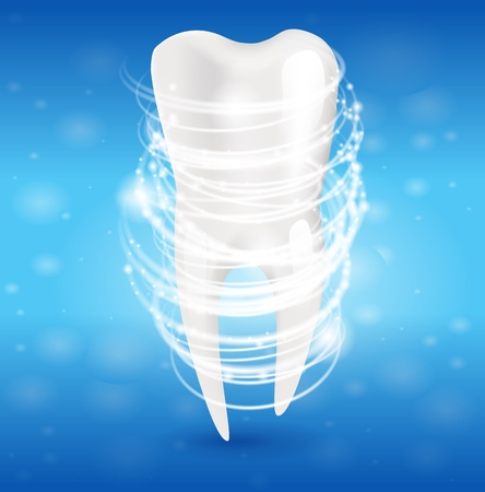 Realistic Illustration Tooth Clean in 3d Vector. Visualization Effect After Using Whitening Toothpaste. Snowwhite Clean and Fresh Tooth. Cleanliness Oral Cavity. Isolated on Blue Background