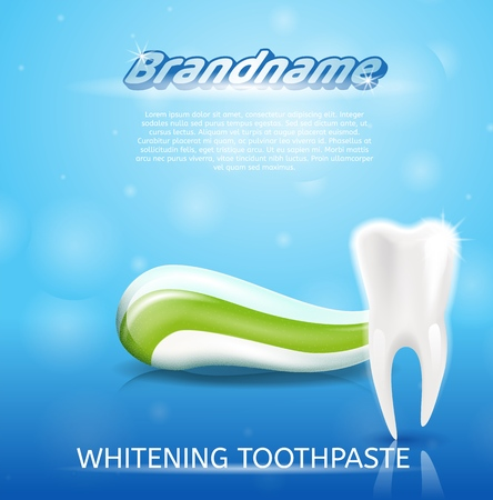 Realistic Image Healthy Tooth and Toothpaste in 3d. Banner Vector Illustration Clean, Snowwhite Healthy Tooth on Background Whitening Toothpaste Brandname. Freshness Oral Cavity. on Blue Background