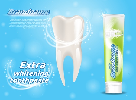 Extra Whitening Toothpaste Healthy Teeth Concept. Banner Vector Realistic Illustration 3d Clean Healthy Teeth. Brandname. Means Caring for Oral Cavity. Tube Toothpaste. Isolated on Blue Background