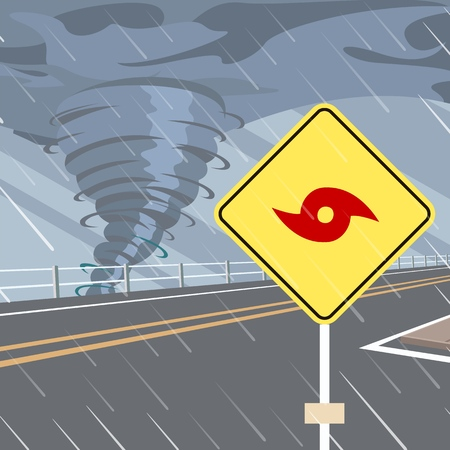 Hurricane Season Flat Vector with Hurricane Danger Road Sign on Side of Highway. Tropical Storm or Cyclone Warning. Stormy Weather on Seacoast Forecast. Natural Disaster. Climate Changes Concept