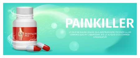 Banner Advertisement Packaging Painkiller Pils. 3d Vector Illustration Medication Lying Tablet Beside to Pack Pill Closeup Images Human Knee. Rheumatic Disease Treatment. Isolated on Green Background