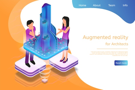 Isometric Banner Augmented Reality for Architects. Vector Illustration Man and Woman Working Architectural Project. Graphic Projection Building Structure City. Technology Future Work and Business Illustration