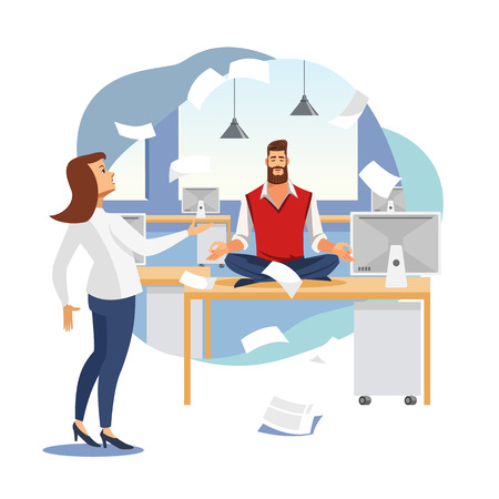 Keeping Calm and Balance in Work Flat Vector Concept with Businessman or Company Employee Meditating on Work Desk in Office with Angry Female Boss or Colleague Arguing Because of Mess in Papers