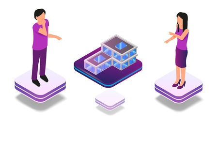 Isometric Augmented Virtual Reality for Architect. Vector Illustration Man and Woman are Designing Small House Structure. Group Architect Engineers Use Virtual Projection Building to Work Project Illustration
