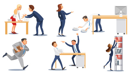 Set of Business People in Stressful Office Situations Flat Vector Isolated on White Background. Angry, Annoyed Boss, Busy Businesswoman and Businessman, Perplexed Office Workers Characters Collection