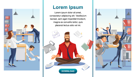 Emotional Balance, Stress Relief in Office Work Flat Vector Web Banner, Landing Page with Working Business People and Businessman, Company Employee Meditating, Practicing Yoga in Stressful Situation Stock Illustratie