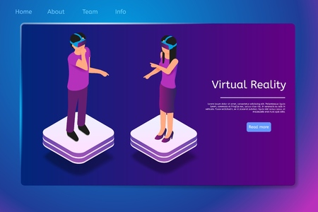 Isometric People Use Virtual Reality Glasses in 3d. Vector Banner Illustration Man and Woman Work, Play, Communicate Augmented Reality. Modern Technologists Assisting in Work Process.