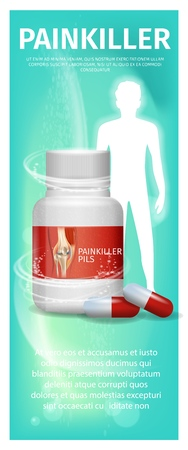 Banner Advertisement Packaging Painkiller Pils. 3d Vector Illustration Infographic Medication Lying Tablet Beside to Pack Pill Against White Human Silhouette. Rheumatic Disease Treatment