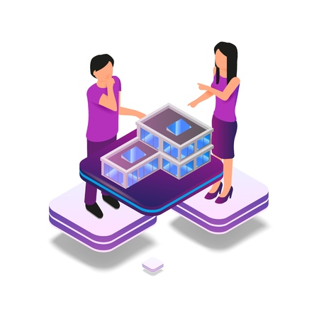 Isometric Image Augmented Reality for Architect. Vector Illustration Man and Woman Working Architectural Project. Graphic Projection Building Structure City. Technology Future Work and Business