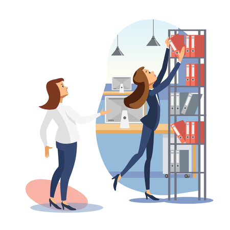 Two Business Woman, Female Colleagues Working Together with Documents in Office Flat Vector Illustration. Director Asking Employee to Get Binder From Shelf. Capricious Boss, Company Trainee Concept