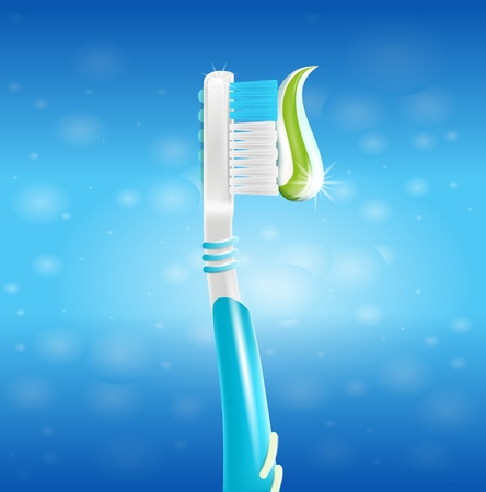 Realistic Illustration Toothbrush with Paste in 3d. Vector Image Toothbrush with Soft Bristles, Applied Whitening Mint Toothpaste. Oral Care and Teeth Whitening. Isolated on Blue Background Banco de Imagens - 114365360