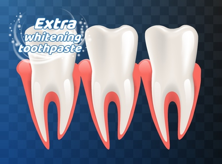 Extra Whitening Toothpaste Healthy Teeth Concept. Vector Realistic Illustration 3d Clean Healthy Teeth Human Jaw. Means Caring for Oral Cavity. Teeth Whitening. Isolated on Empty Background