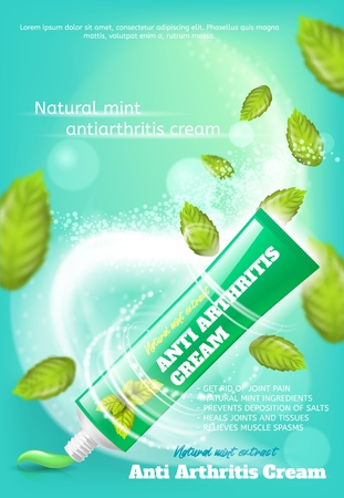 Banner Anti Arthritis Cream Natural Mint Extract. Vector Image Concept Get Rid of Joint Pain, Natural Mint Ingredients, Prevents Deposition of Salts, Heals Joints and Tissues, Relieves Muscle Spasms Иллюстрация