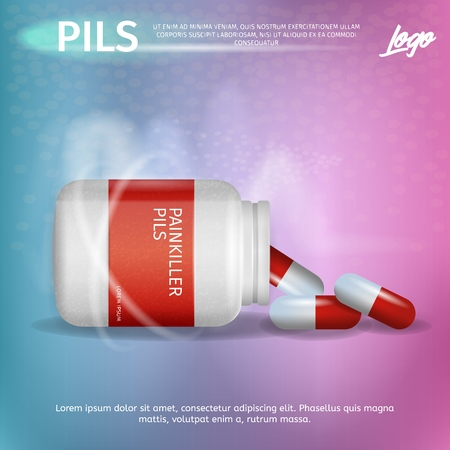 Banner Advertisement Packaging Painkiller Pils. 3d Vector Illustration Infographic Medication lying Pack Pill. Rheumatic Disease Treatment. Rheumatologist Prescription. Dropped Pill from Can