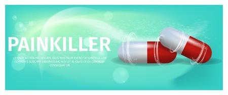 Banner Illustration Advertisement Painkiller Pils. 3d Vector image Medication Lying red Tablet Isolated on Green Background. Rheumatic Disease Treatment. Rheumatologist Prescription