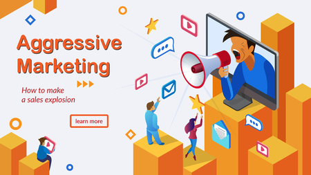 Aggressive Marketing for Sales Explosion Isometric Vector Web Banner. Advertising Campaign Online, Company Promotion in Internet, Product Popularizing Concept. Business Digital Services Landing Page