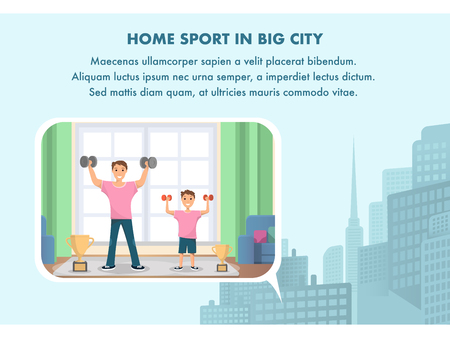 Happy Man and Child Standing Training Bodybuilding. Banner Image Home Sport in Big City. Father and Son Play Sport Home. Raising his Hand Up with Dumbbell. Winning Cup. Metropolis Panorama