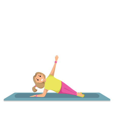 Happy Child Doing Morning Fitness Sport Workout. Little Girl Engaged in Yoga. Smiling Girl are Standing in Yoga Pose. Healthy Lifestyle. Green Exercise Mat. Isolated on White Background