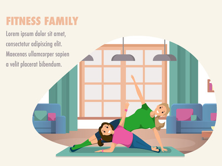 Happy Woman and Child Doing Fitness Training. Banner Image Fitness Family. Mother and Daughter Engaged in Yoga morning. Smiling Girl are Standing in Yoga Pose against Window Home Interior.