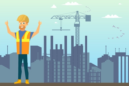 Building New House Flat Vector Concept or Ad Banner Template with Happy Smiling Builder in Uniform and Helmet Showing Thumbs up Hand Sign on City Construction Site Background. Job Opportunity Poster