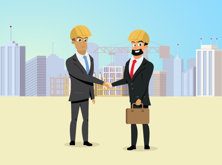 Successful Partnership in Construction Business, Investments in Real Estate Object Business Flat Vector Concept with Satisfied Business Partners in Builders Helmets Shaking Hands on Construction Site