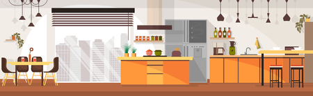 Modern Kitchen Spacious Interior Design Cartoon Vector Panoramic Illustration with Chairs Around Dining Table, Various Contemporary Kitchen Appliances, Dishes and Cooking Devices. Household Background Иллюстрация