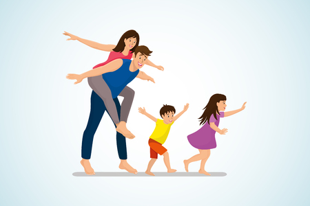Happy Family Fun Cartoon Vector Concept with Cheerful Smiling Children Running and Joyful Husband Piggyback Riding His Wife Illustration Isolated on White Background. Young Parents Fooling Around