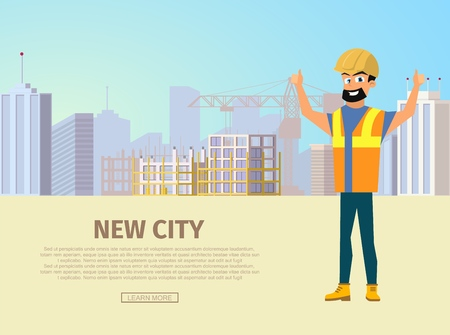 Building New City Flat Vector Web Banner with Happy Smiling Builder in Uniform and Helmet Showing Thumbs up Hand Sign on City Construction Site Background. Construction Company Landing Page Template
