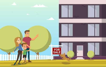 Finding New House for Family Living Flat Vector Concept with Happy Parents Walking with Child, Father Pointing on New Comfortable House on Sale Illustration. Buying Apartments. Home Loan for Family