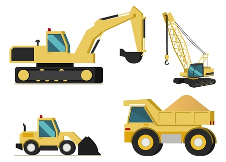 Construction or Mining Industries Heavy Machines Flat Vector Icons Set Isolated on White Background. Crawler Excavator and Crane, Bulldozer, Loaded with Bulk Cargo Dumper Truck Illustration Collection